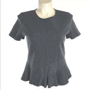 J.Crew XL Top Peplum Charcoal Gray Short Sl NICE
